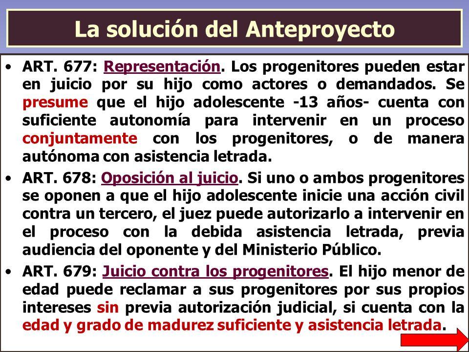 La solución del Anteproyecto ART. 677: Representación. Los progenitores pueden estar en juicio por su hijo como actores o demandados. Se presume que e