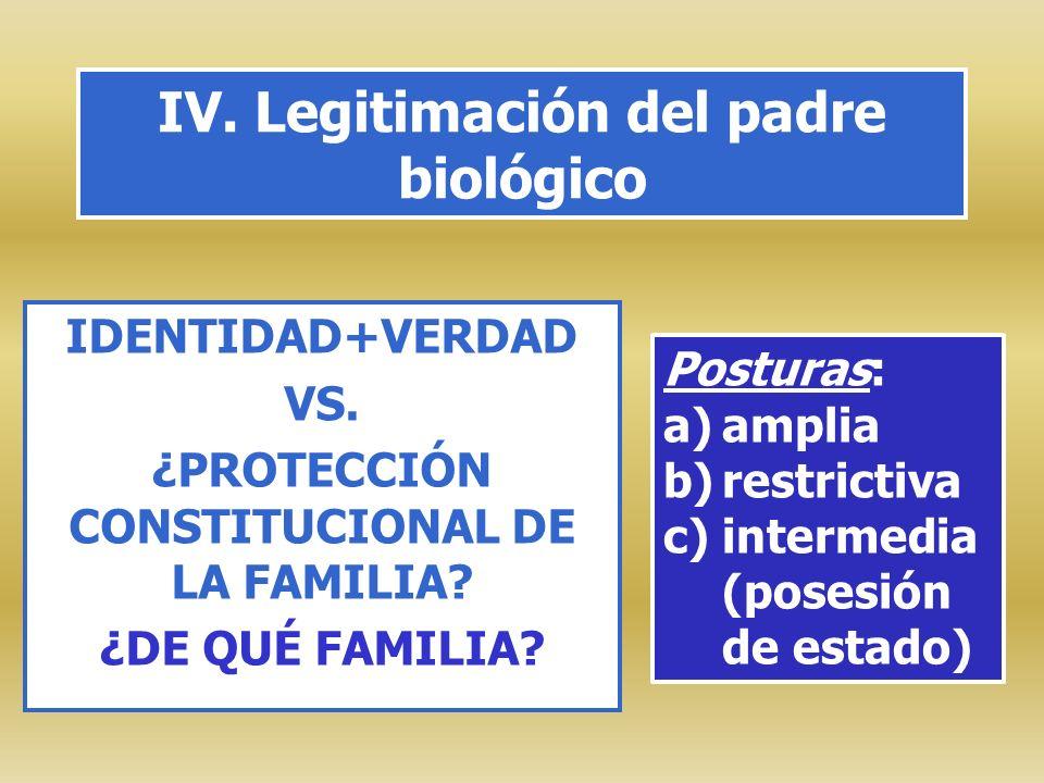 IV. Legitimación del padre biológico IDENTIDAD+VERDAD VS. ¿PROTECCIÓN CONSTITUCIONAL DE LA FAMILIA? ¿DE QUÉ FAMILIA? Posturas: a)amplia b)restrictiva
