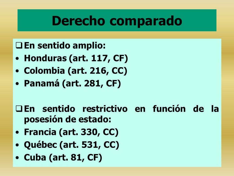 Derecho comparado En sentido amplio: Honduras (art. 117, CF) Colombia (art. 216, CC) Panamá (art. 281, CF) En sentido restrictivo en función de la pos