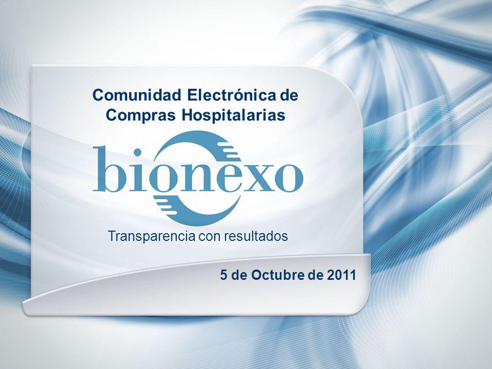 Comunidad Electrónica de Compras Hospitalarias 5 de Octubre de 2011 Transparencia con resultados