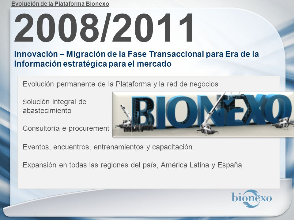 2008/2011 Innovación – Migración de la Fase Transaccional para Era de la Información estratégica para el mercado Evolución permanente de la Plataforma