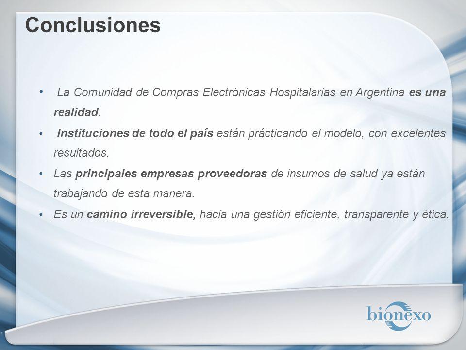 Conclusiones La Comunidad de Compras Electrónicas Hospitalarias en Argentina es una realidad. Instituciones de todo el país están prácticando el model
