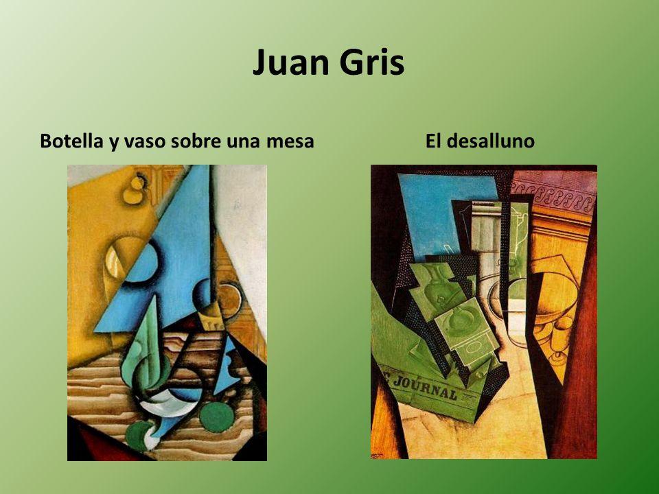 Juan Gris Botella y vaso sobre una mesaEl desalluno