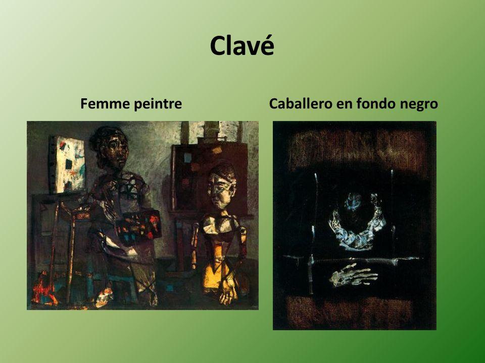 Clavé Femme peintreCaballero en fondo negro