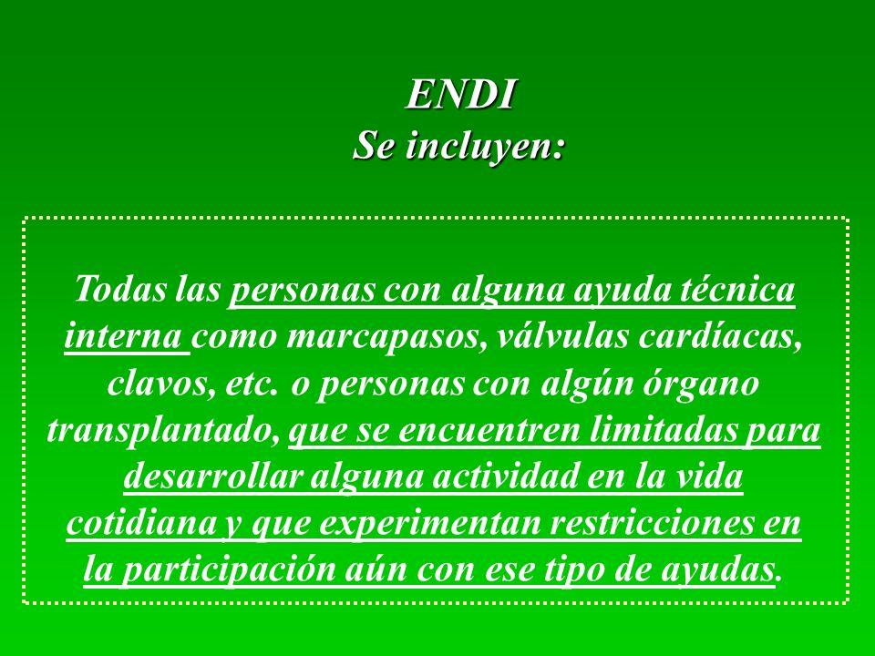 ENDI Se incluyen: Todas las personas con alguna ayuda técnica interna como marcapasos, válvulas cardíacas, clavos, etc. o personas con algún órgano tr