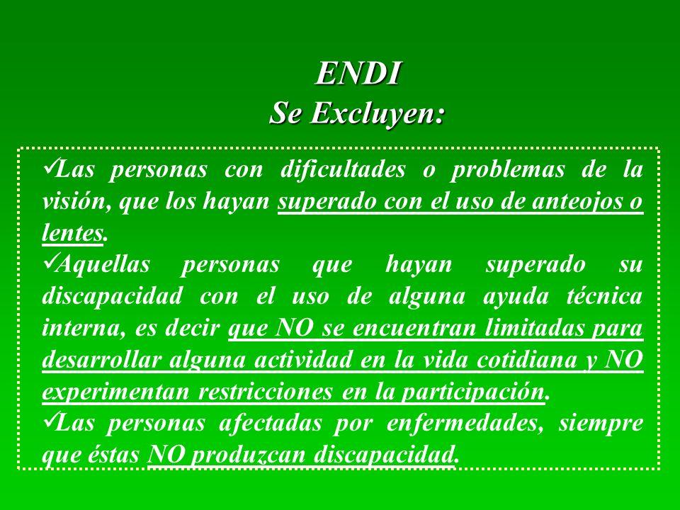 ENDI Se Excluyen: Las personas con dificultades o problemas de la visión, que los hayan superado con el uso de anteojos o lentes.