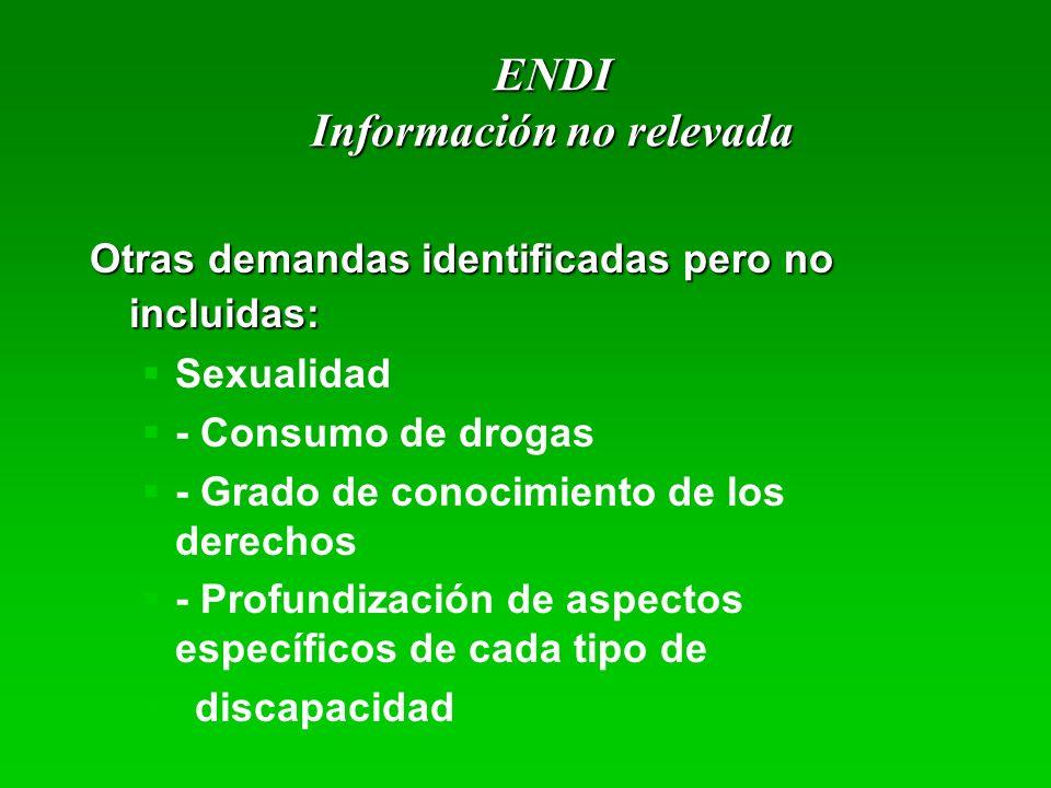 ENDI Información no relevada Otras demandas identificadas pero no incluidas: Sexualidad - Consumo de drogas - Grado de conocimiento de los derechos -