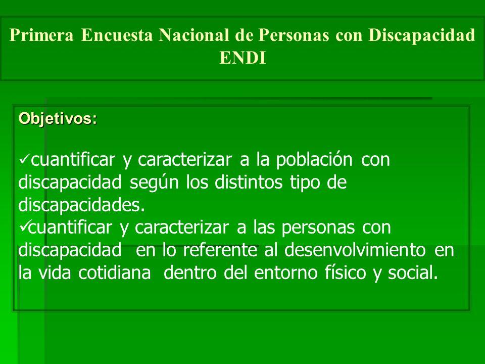 Objetivos: cuantificar y caracterizar a la población con discapacidad según los distintos tipo de discapacidades.