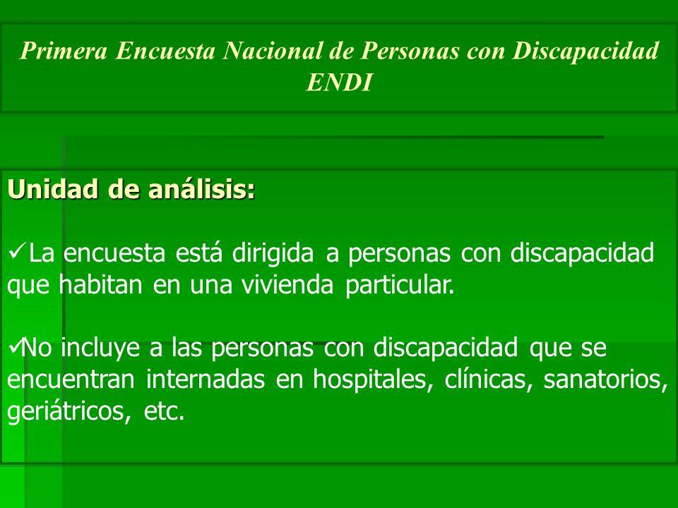 Unidad de análisis: La encuesta está dirigida a personas con discapacidad que habitan en una vivienda particular. No incluye a las personas con discap