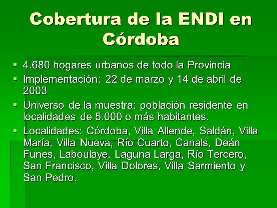 Cobertura de la ENDI en Córdoba 4.680 hogares urbanos de todo la Provincia 4.680 hogares urbanos de todo la Provincia Implementación: 22 de marzo y 14 de abril de 2003 Implementación: 22 de marzo y 14 de abril de 2003 Universo de la muestra: población residente en localidades de 5.000 o más habitantes.
