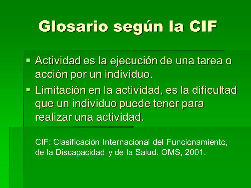 Glosario según la CIF Actividad es la ejecución de una tarea o acción por un individuo. Actividad es la ejecución de una tarea o acción por un individ