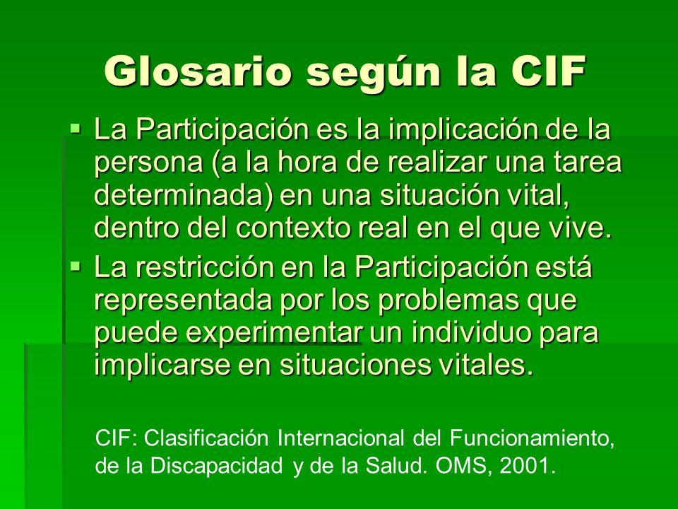 Glosario según la CIF La Participación es la implicación de la persona (a la hora de realizar una tarea determinada) en una situación vital, dentro de