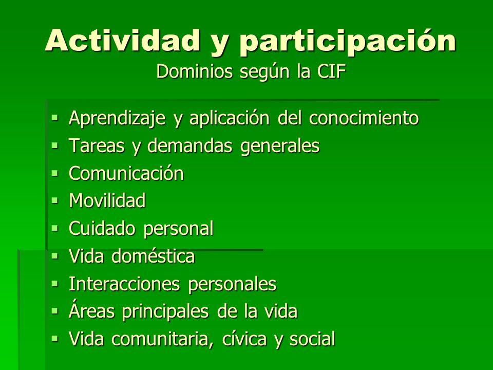Actividad y participación Dominios según la CIF Aprendizaje y aplicación del conocimiento Aprendizaje y aplicación del conocimiento Tareas y demandas