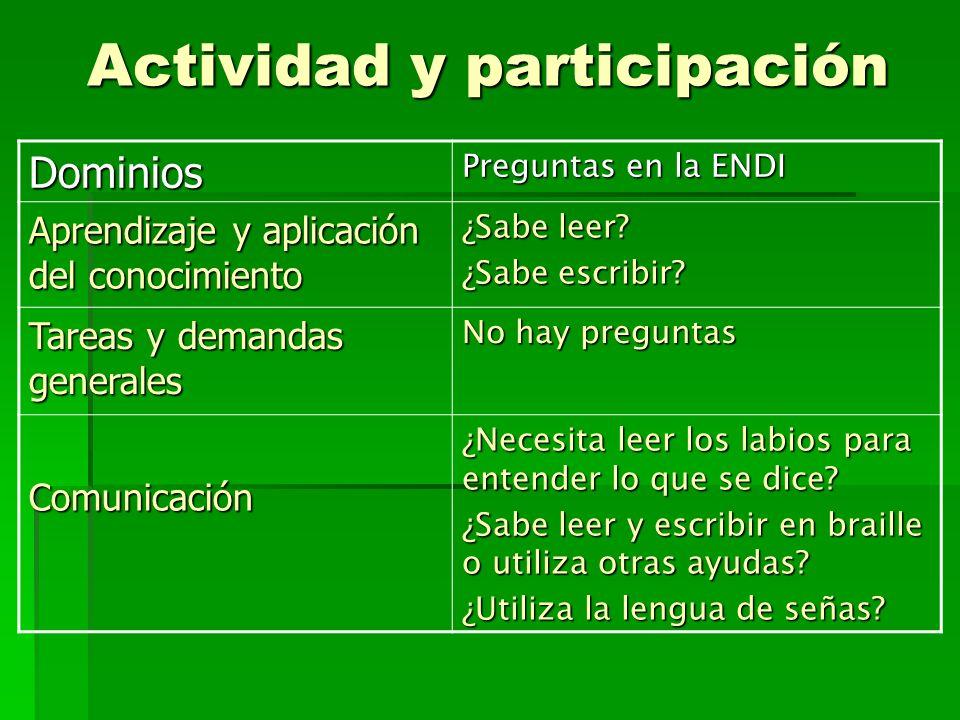 Actividad y participación Dominios Preguntas en la ENDI Aprendizaje y aplicación del conocimiento ¿Sabe leer.