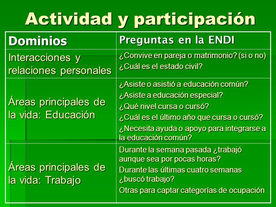 Actividad y participación Dominios Preguntas en la ENDI Interacciones y relaciones personales ¿Convive en pareja o matrimonio? (si o no) ¿Cuál es el e