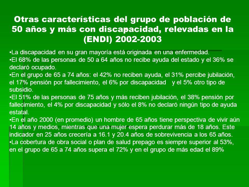 Otras características del grupo de población de 50 años y más con discapacidad, relevadas en la (ENDI) 2002-2003 La discapacidad en su gran mayoría está originada en una enfermedad.