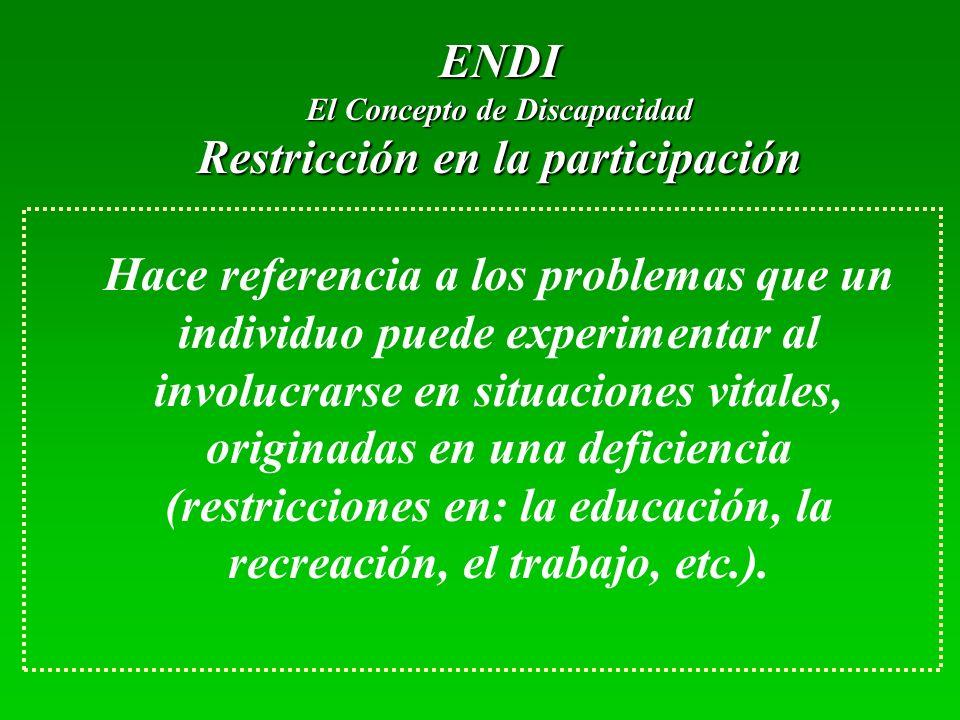 ENDI El Concepto de Discapacidad Restricción en la participación Hace referencia a los problemas que un individuo puede experimentar al involucrarse en situaciones vitales, originadas en una deficiencia (restricciones en: la educación, la recreación, el trabajo, etc.).
