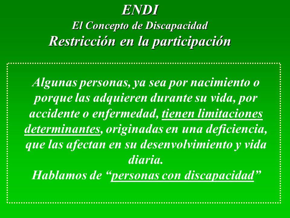 ENDI El Concepto de Discapacidad Restricción en la participación Algunas personas, ya sea por nacimiento o porque las adquieren durante su vida, por a