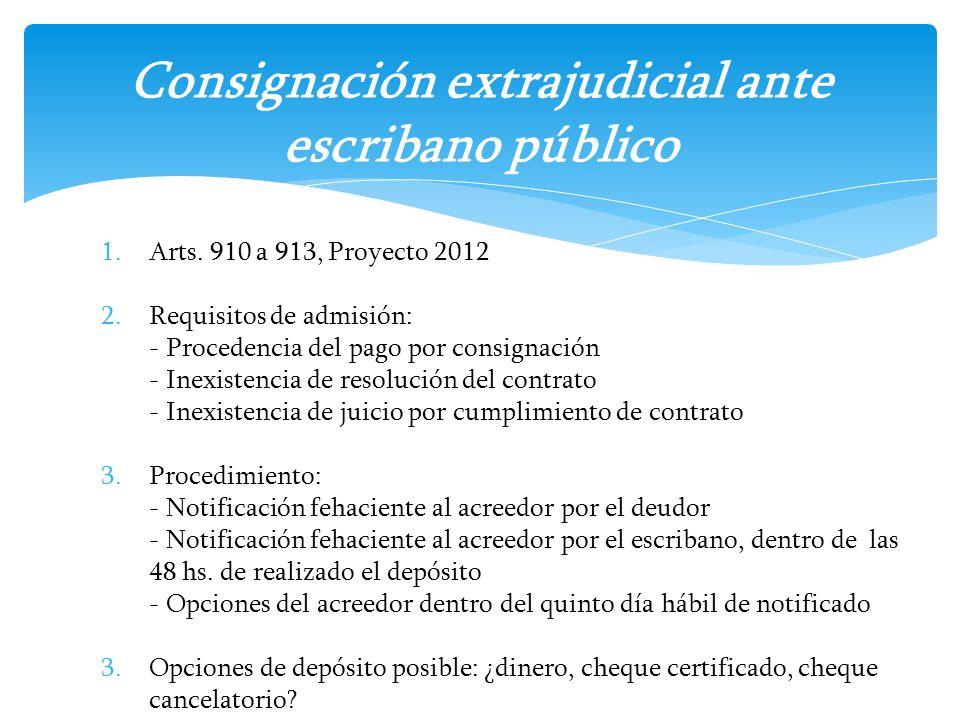 1.Arts. 910 a 913, Proyecto 2012 2.Requisitos de admisión: - Procedencia del pago por consignación - Inexistencia de resolución del contrato - Inexist