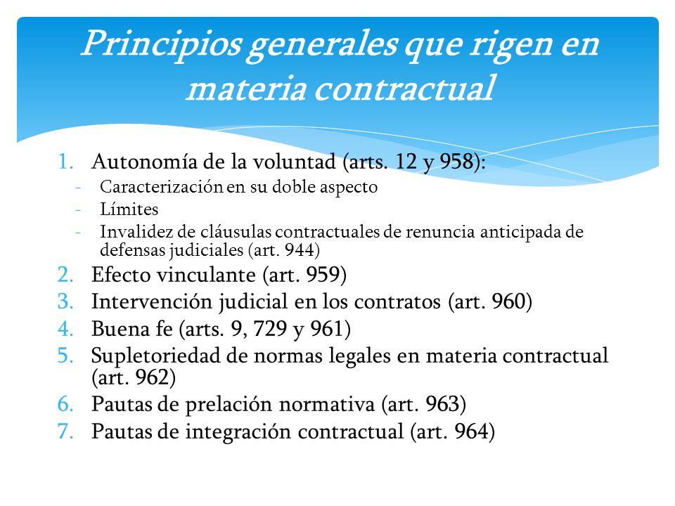 1.Autonomía de la voluntad (arts. 12 y 958): -Caracterización en su doble aspecto -Límites -Invalidez de cláusulas contractuales de renuncia anticipad