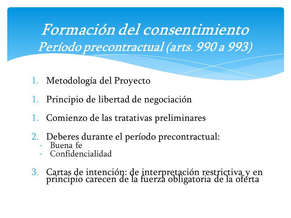 1.Metodología del Proyecto 1.Principio de libertad de negociación 1.Comienzo de las tratativas preliminares 2.Deberes durante el período precontractua