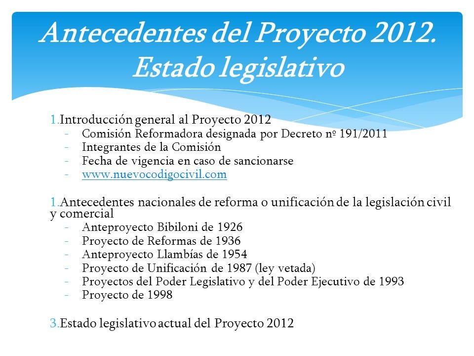 1.Introducción general al Proyecto 2012 -Comisión Reformadora designada por Decreto nº 191/2011 -Integrantes de la Comisión -Fecha de vigencia en caso