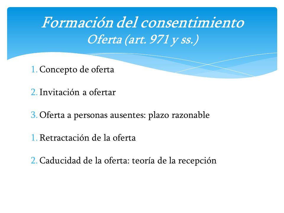 1.Concepto de oferta 2.Invitación a ofertar 3.Oferta a personas ausentes: plazo razonable 1.Retractación de la oferta 2.Caducidad de la oferta: teoría