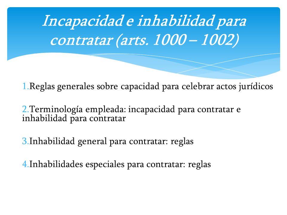1.Reglas generales sobre capacidad para celebrar actos jurídicos 2.Terminología empleada: incapacidad para contratar e inhabilidad para contratar 3.In