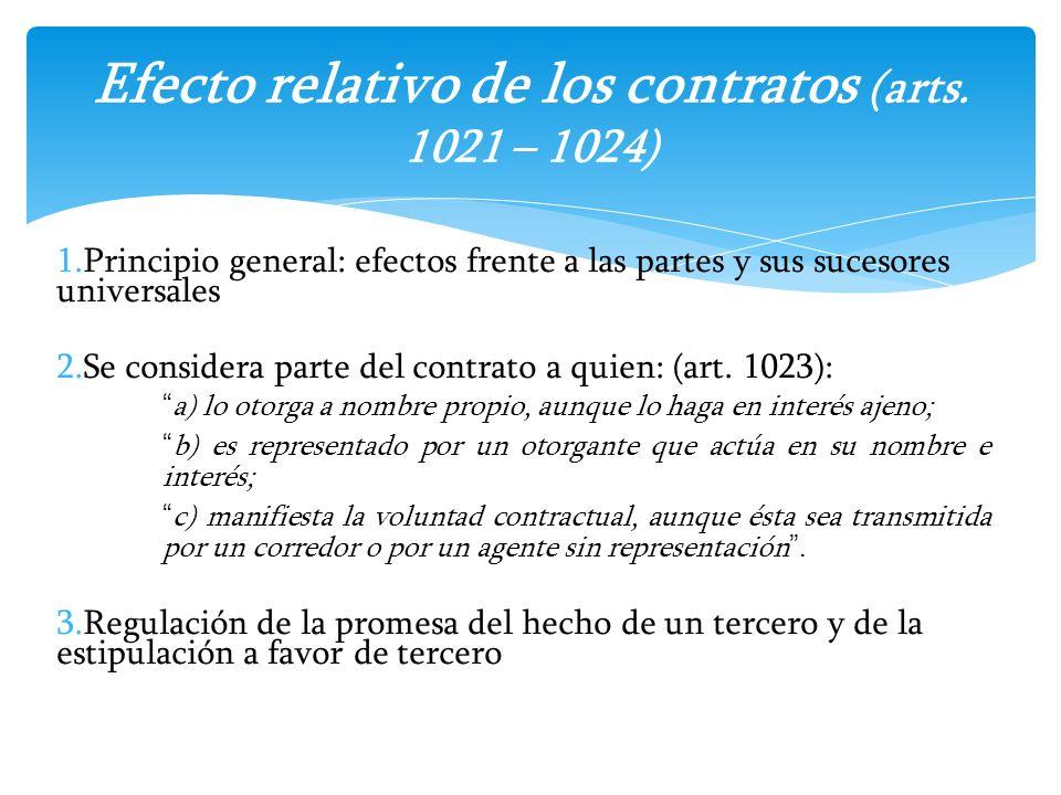1.Principio general: efectos frente a las partes y sus sucesores universales 2.Se considera parte del contrato a quien: (art. 1023): a) lo otorga a no