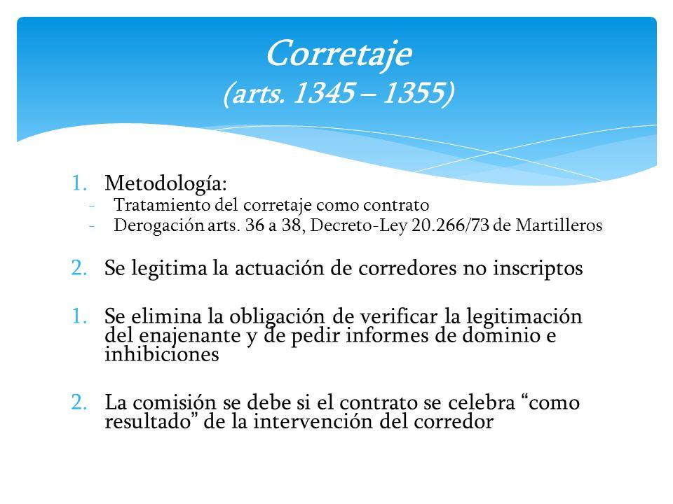 1.Metodología: -Tratamiento del corretaje como contrato -Derogación arts. 36 a 38, Decreto-Ley 20.266/73 de Martilleros 2.Se legitima la actuación de