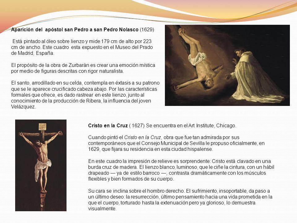 Aparición del apóstol san Pedro a san Pedro Nolasco (1629) Está pintado al óleo sobre lienzo y mide 179 cm de alto por 223 cm de ancho. Este cuadro es