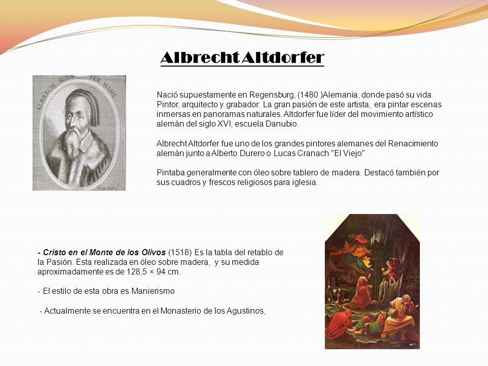 Nació supuestamente en Regensburg, (1480 )Alemania, donde pasó su vida. Pintor, arquitecto y grabador. La gran pasión de este artista, era pintar esce