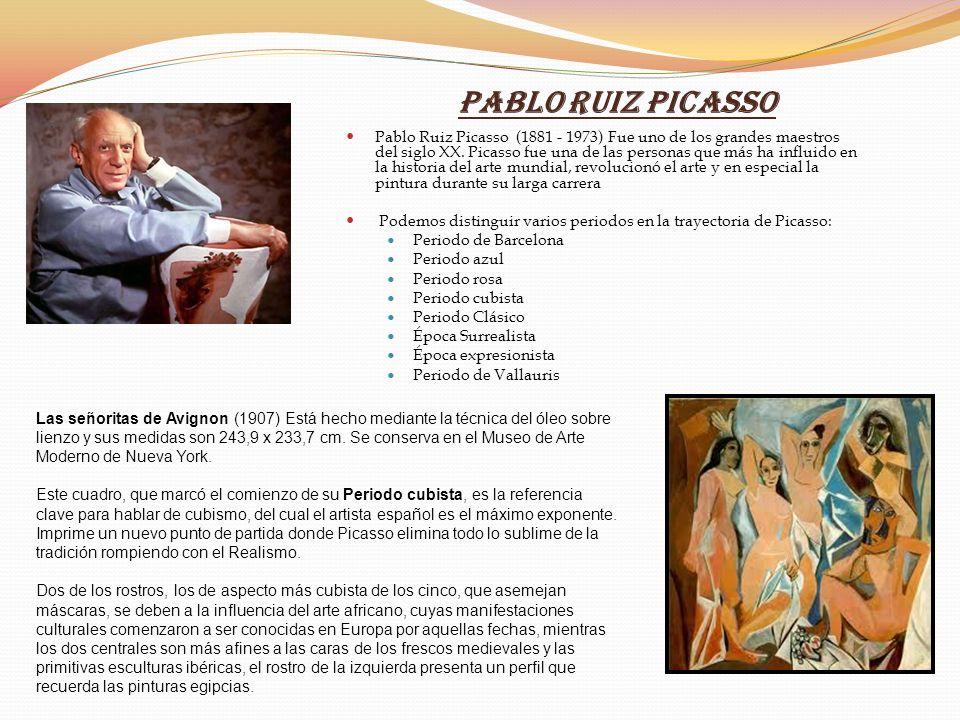 Pablo Ruiz Picasso Pablo Ruiz Picasso (1881 - 1973) Fue uno de los grandes maestros del siglo XX. Picasso fue una de las personas que más ha influido