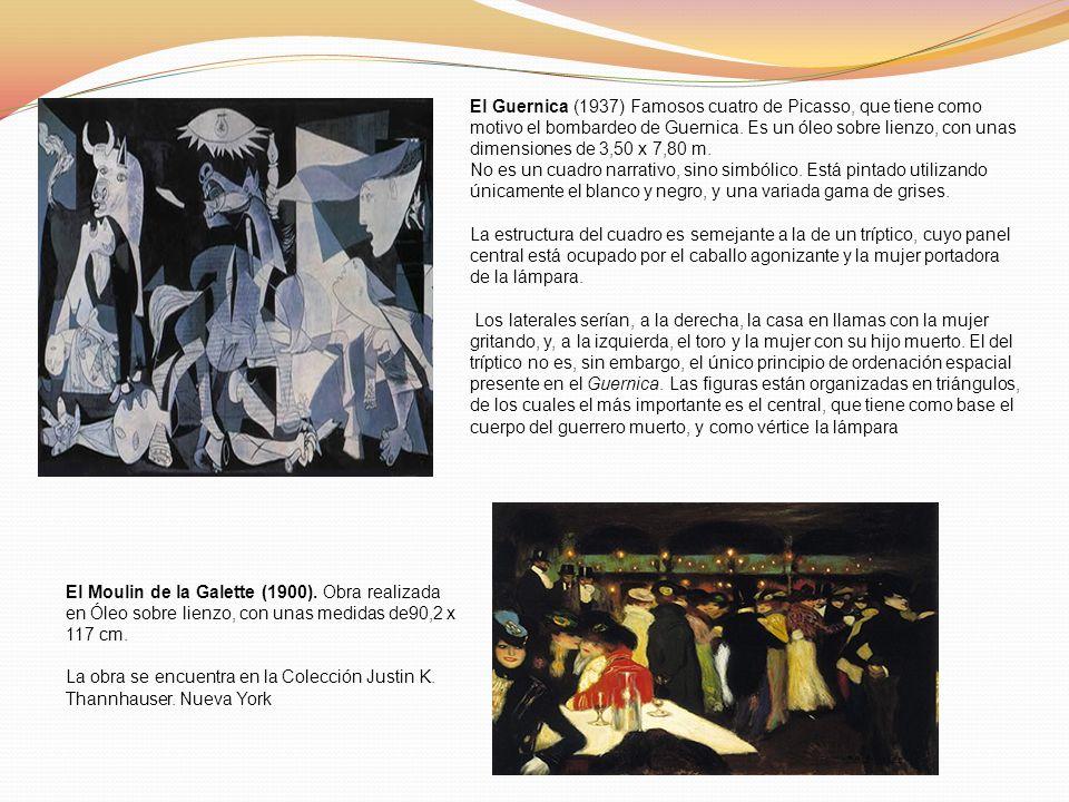 El Guernica (1937) Famosos cuatro de Picasso, que tiene como motivo el bombardeo de Guernica. Es un óleo sobre lienzo, con unas dimensiones de 3,50 x