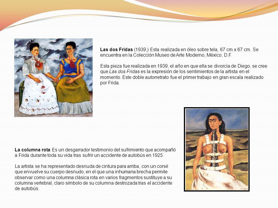 Las dos Fridas (1939,) Esta realizada en óleo sobre tela, 67 cm x 67 cm. Se encuentra en la Colección Museo de Arte Moderno, México, D.F. Esta pieza f