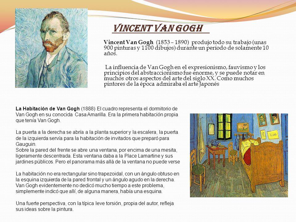 Vincent Van Gogh Vincent Van Gogh (1853 – 1890) produjo todo su trabajo (unas 900 pinturas y 1100 dibujos) durante un período de solamente 10 años. La