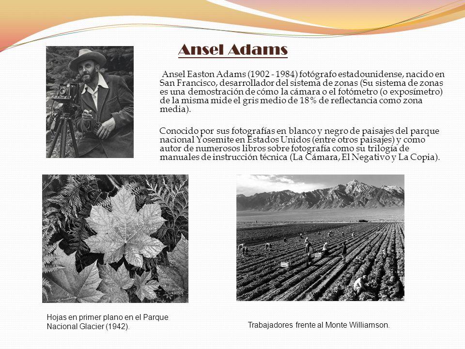 Ansel Adams Ansel Easton Adams (1902 - 1984) fotógrafo estadounidense, nacido en San Francisco, desarrollador del sistema de zonas (Su sistema de zona