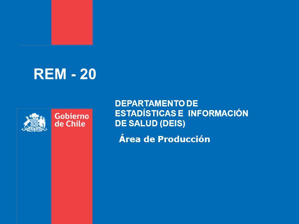 Área de Producción REM - 20 DEPARTAMENTO DE ESTADÍSTICAS E INFORMACIÓN DE SALUD (DEIS)