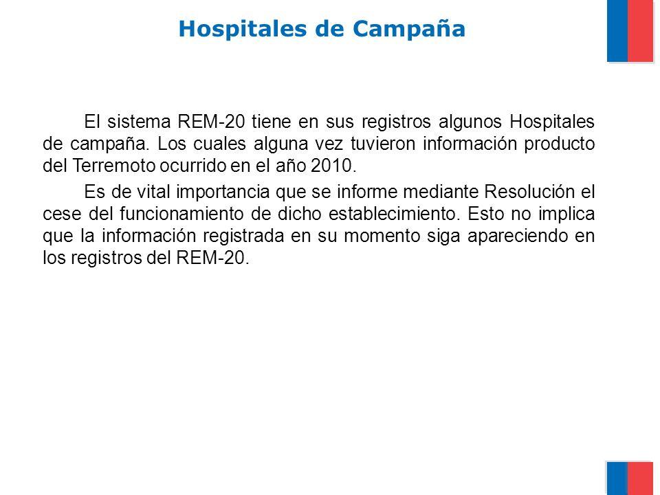 Hospitales de Campaña El sistema REM-20 tiene en sus registros algunos Hospitales de campaña. Los cuales alguna vez tuvieron información producto del
