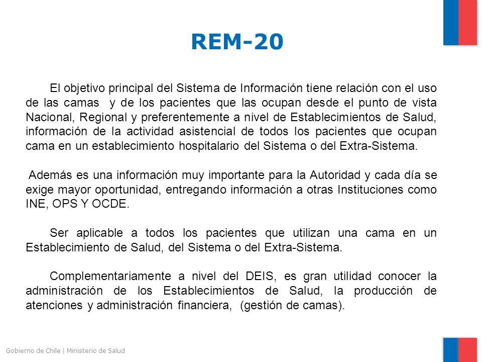 Gobierno de Chile | Ministerio de Salud CENSO DIARIO DE CAMAS Y PACIENTES HOSPITALIZADOS (REM-20) El sistema de ingreso del REM 20 con la finalidad de llevar la exactitud del dato, esta implementado para que sea diario en los Establecimientos Pertenecientes.