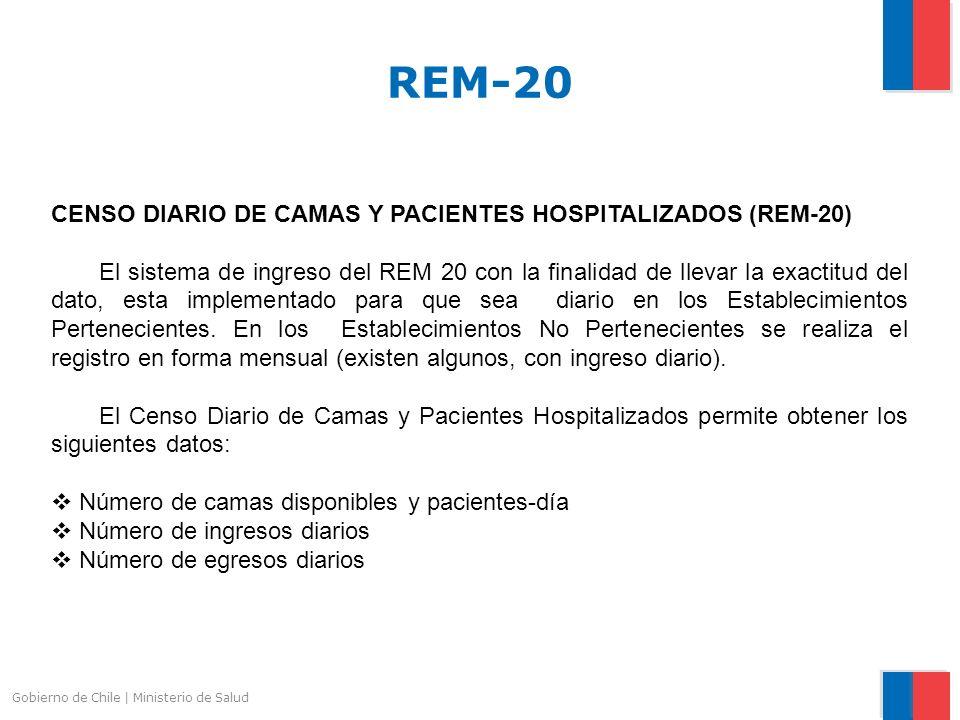 Gobierno de Chile | Ministerio de Salud CENSO DIARIO DE CAMAS Y PACIENTES HOSPITALIZADOS (REM-20) El sistema de ingreso del REM 20 con la finalidad de