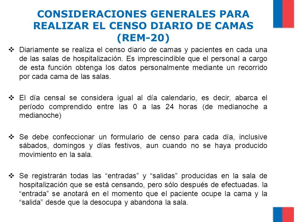 CONSIDERACIONES GENERALES PARA REALIZAR EL CENSO DIARIO DE CAMAS (REM-20) Diariamente se realiza el censo diario de camas y pacientes en cada una de l