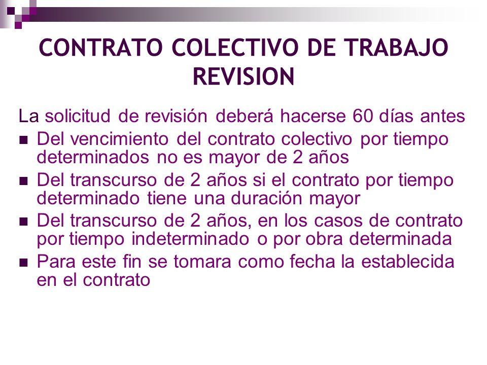 Todos los años se realizara revisión del contrato colectivo en lo referente a salarios en efectivo por cuota diaria.