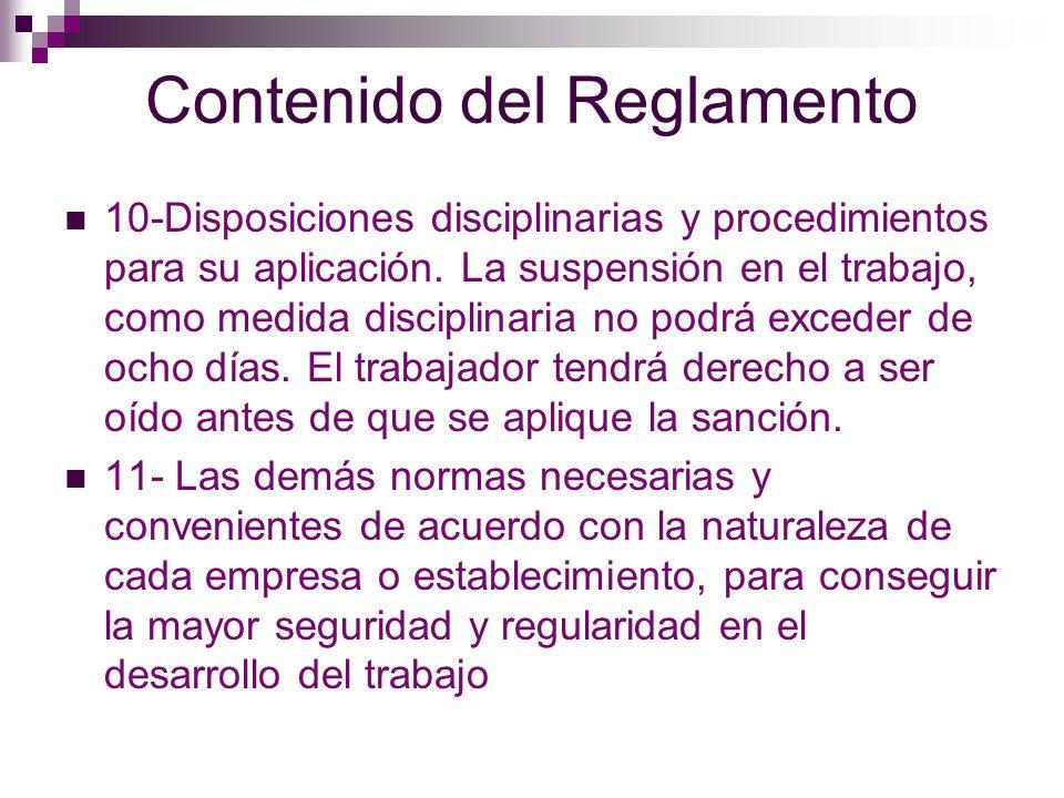 Normas a Observar en la Formación del Reglamento 1- Se formulará por una comisión mixta de representantes de los trabajadores y el patrón.