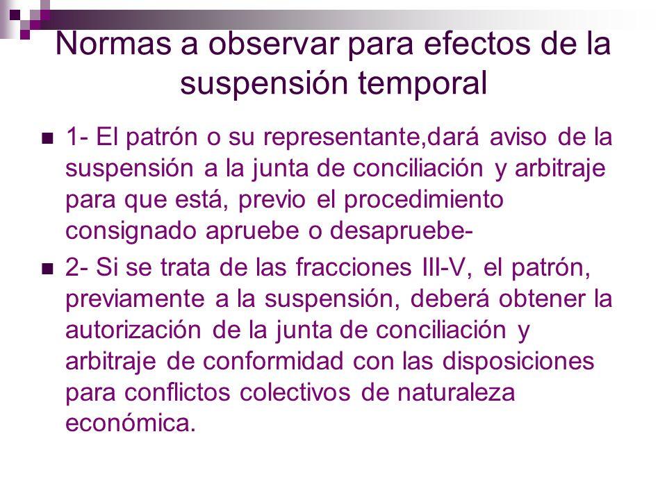 Normas a observar para efectos de la suspensión temporal 3- Si se trata de las fracciones II y VI, el patrón, previamente a la suspensión, deberá obtener la autorización de la junta de conciliación y arbitraje.