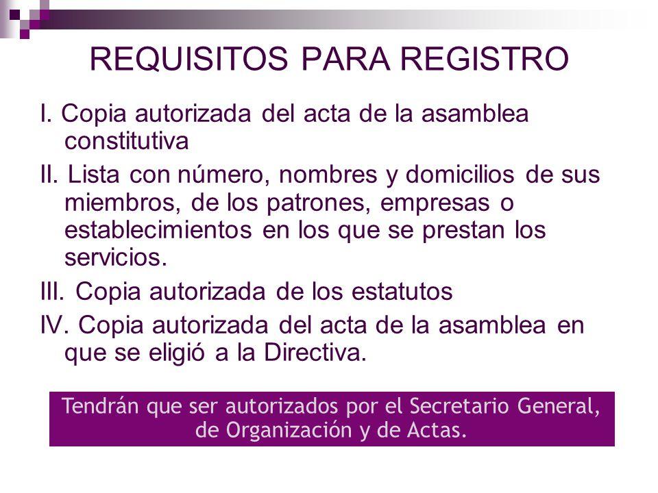 CAUSAS PARA NEGAR REGISTRO Cuando el sindicato no se propone la finalidad prevista en el Articulo 356 Si no cumple con el mínimo de integrantes Si no se exhiben los documentos solicitados