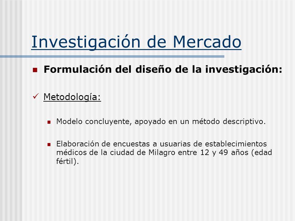 Investigación de Mercado Formulación del diseño de la investigación: Metodología: Modelo concluyente, apoyado en un método descriptivo. Elaboración de