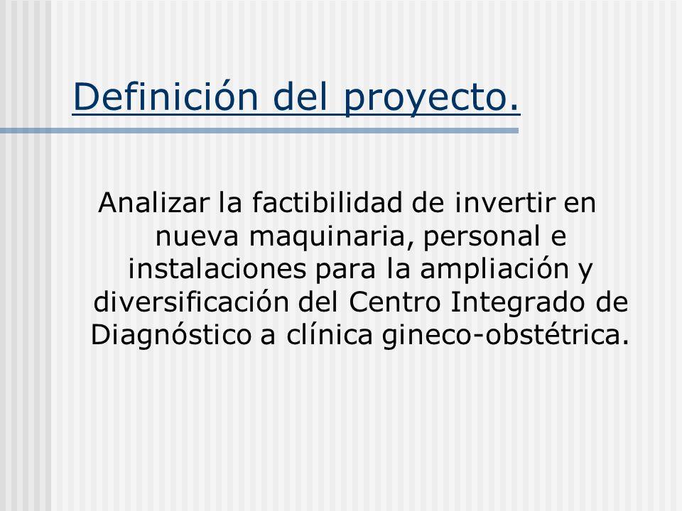 Definición del proyecto. Analizar la factibilidad de invertir en nueva maquinaria, personal e instalaciones para la ampliación y diversificación del C