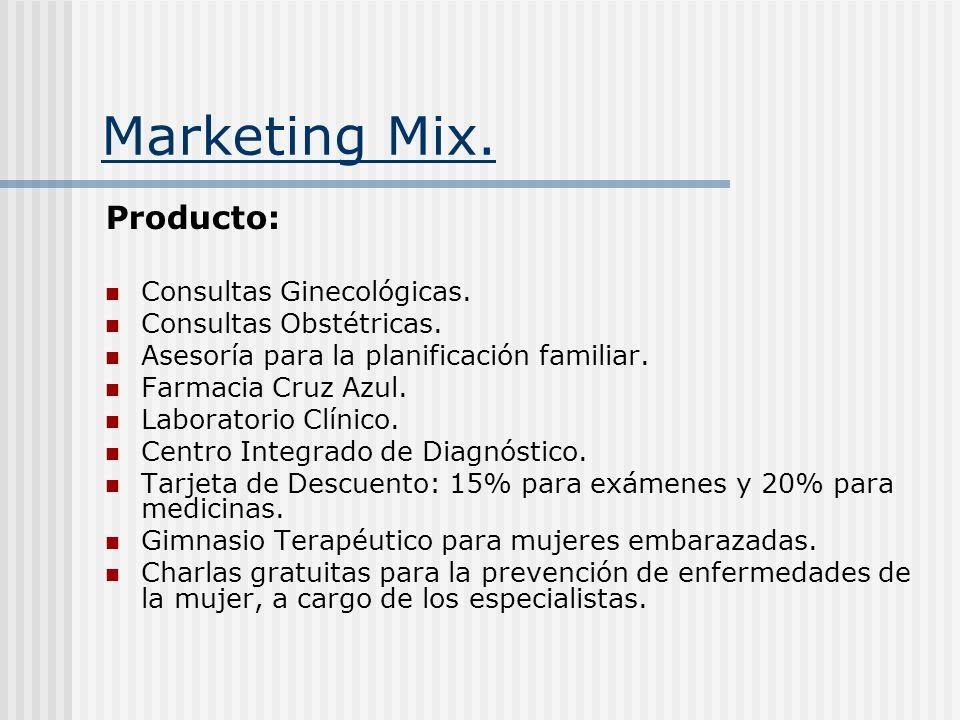Marketing Mix. Producto: Consultas Ginecológicas. Consultas Obstétricas. Asesoría para la planificación familiar. Farmacia Cruz Azul. Laboratorio Clín