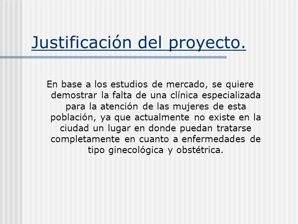 Justificación del proyecto. En base a los estudios de mercado, se quiere demostrar la falta de una clínica especializada para la atención de las mujer